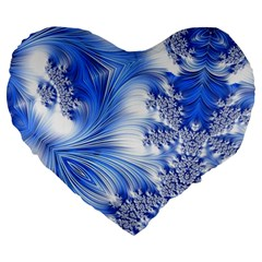 Special Fractal 17 Blue Large 19  Premium Flano Heart Shape Cushions
