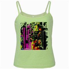 Abstract City View Green Spaghetti Tanks