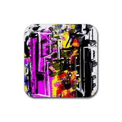 Abstract City View Rubber Square Coaster (4 pack)