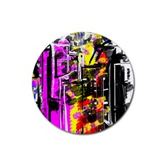 Abstract City View Rubber Round Coaster (4 Pack)
