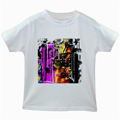 Abstract City View Kids White T-Shirts