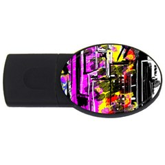 Abstract City View USB Flash Drive Oval (1 GB)