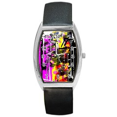 Abstract City View Barrel Metal Watches