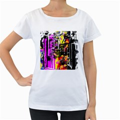 Abstract City View Women s Loose-Fit T-Shirt (White)