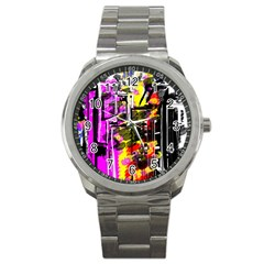 Abstract City View Sport Metal Watches