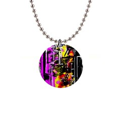 Abstract City View Button Necklaces