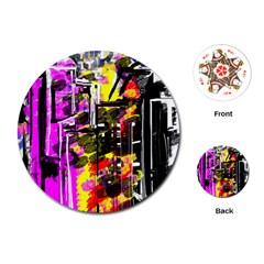 Abstract City View Playing Cards (round)