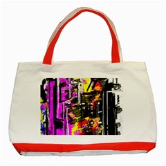 Abstract City View Classic Tote Bag (red)