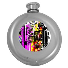 Abstract City View Round Hip Flask (5 Oz)