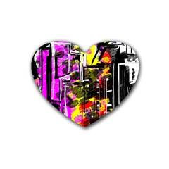 Abstract City View Rubber Coaster (heart)