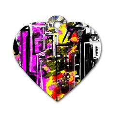 Abstract City View Dog Tag Heart (two Sides)