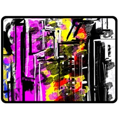 Abstract City View Fleece Blanket (Large)