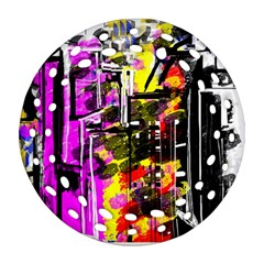 Abstract City View Round Filigree Ornament (2Side)