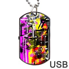 Abstract City View Dog Tag USB Flash (One Side)