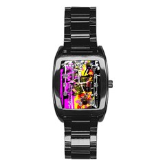 Abstract City View Stainless Steel Barrel Watch