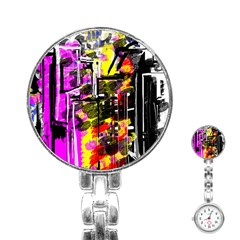 Abstract City View Stainless Steel Nurses Watches