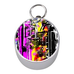 Abstract City View Mini Silver Compasses