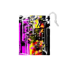 Abstract City View Drawstring Pouches (small)