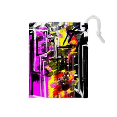 Abstract City View Drawstring Pouches (medium)
