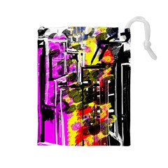 Abstract City View Drawstring Pouches (Large)