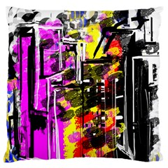 Abstract City View Large Flano Cushion Cases (One Side)