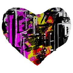 Abstract City View Large 19  Premium Flano Heart Shape Cushions