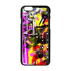Abstract City View Apple Iphone 6 Black Enamel Case