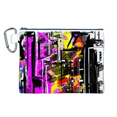 Abstract City View Canvas Cosmetic Bag (L)