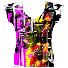 Abstract City View Women s V-Neck Cap Sleeve Top