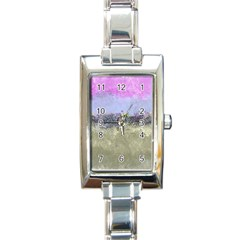 Abstract Garden In Pastel Colors Rectangle Italian Charm Watches