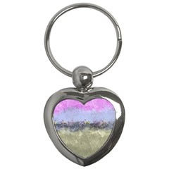 Abstract Garden in Pastel Colors Key Chains (Heart)