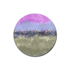 Abstract Garden in Pastel Colors Rubber Round Coaster (4 pack)