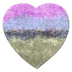 Abstract Garden In Pastel Colors Jigsaw Puzzle (heart)