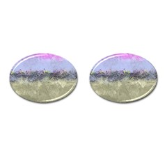 Abstract Garden in Pastel Colors Cufflinks (Oval)