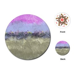 Abstract Garden in Pastel Colors Playing Cards (Round)