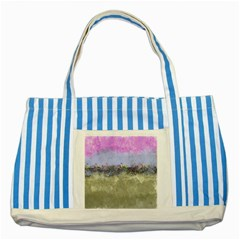 Abstract Garden In Pastel Colors Striped Blue Tote Bag