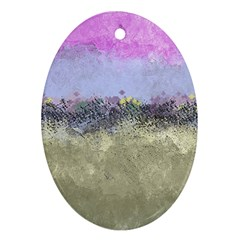 Abstract Garden in Pastel Colors Oval Ornament (Two Sides)