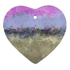Abstract Garden In Pastel Colors Heart Ornament (2 Sides)