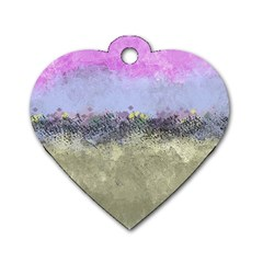 Abstract Garden in Pastel Colors Dog Tag Heart (One Side)