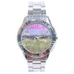 Abstract Garden In Pastel Colors Stainless Steel Men s Watch