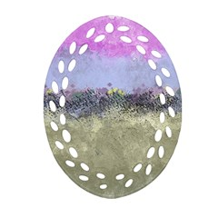 Abstract Garden in Pastel Colors Oval Filigree Ornament (2-Side)
