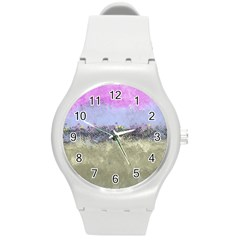Abstract Garden In Pastel Colors Round Plastic Sport Watch (m)