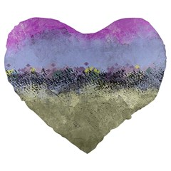 Abstract Garden in Pastel Colors Large 19  Premium Heart Shape Cushions