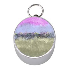 Abstract Garden In Pastel Colors Mini Silver Compasses