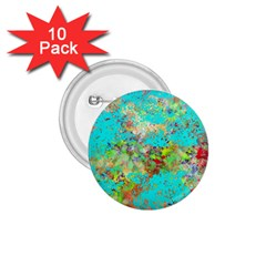 Abstract Garden in Aqua 1.75  Buttons (10 pack)
