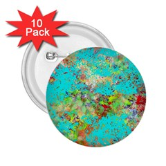 Abstract Garden in Aqua 2.25  Buttons (10 pack)