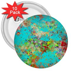 Abstract Garden in Aqua 3  Buttons (10 pack)
