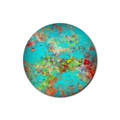 Abstract Garden In Aqua Rubber Coaster (round)