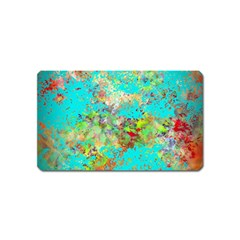 Abstract Garden In Aqua Magnet (name Card)