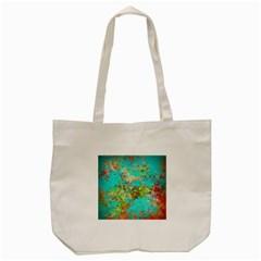 Abstract Garden in Aqua Tote Bag (Cream)